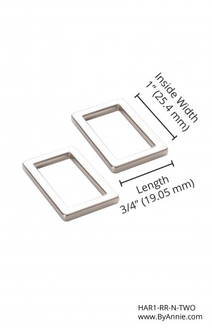 "1"" Nickel- Rectangle Ring, Flat, Set of Two"