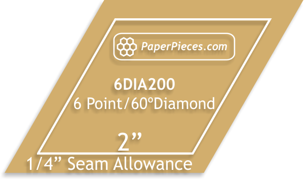"2"" 8-Point Acrylic Diamond, 1/4"" seam allowance"