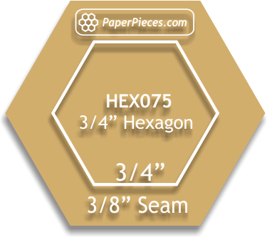 "3/4"" Acrylic Hexagon, 3/8"" Seam Allowance"