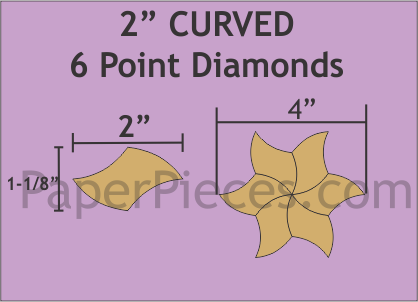 "2"" Curved 6-Points Diamonds, 69 Pieces"