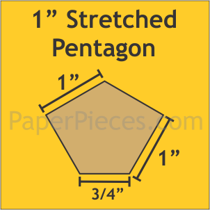 "1"" x 1 1/4"" Stretched Pentagon, 54 Pieces"