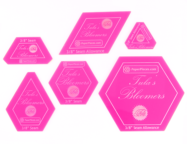 "6-Piece Acrylic Template Set (3/8""), for Tula's Bloomers  (3/8"" Seam Allowance)"