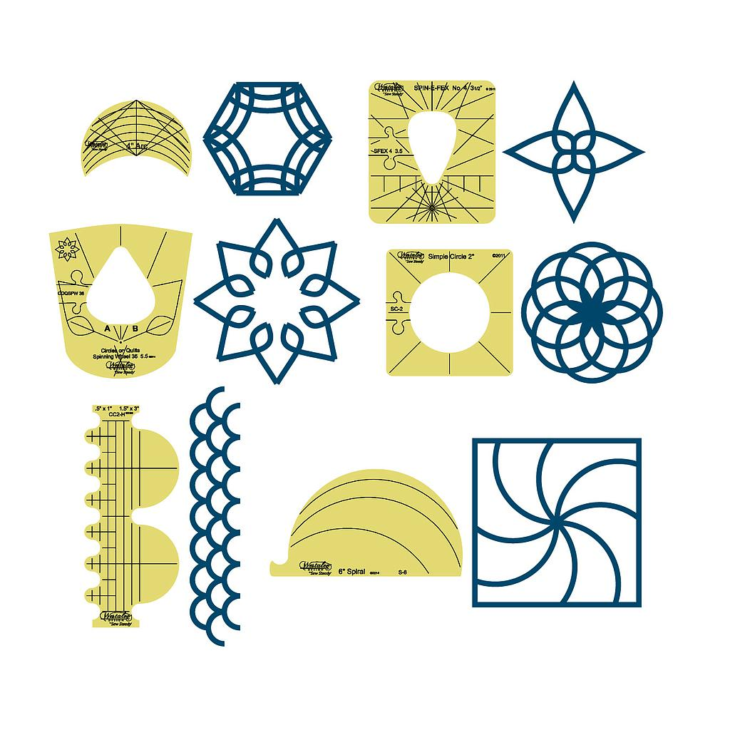 6 pc Sampler Template Set - Longarm (WDT5)